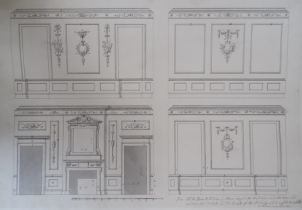 Design of the upright of the four walls for a room