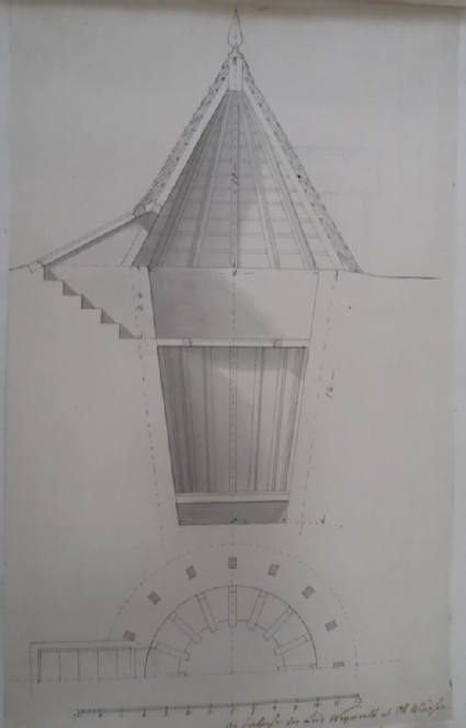 Design for the section and half-plan inscribed 'An Icehouse For Lord Weymouth at Old Windsor'