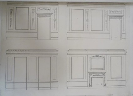 Drawing of the four sides of a room