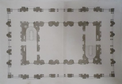 Design for the plan of the main floor for a monumental building