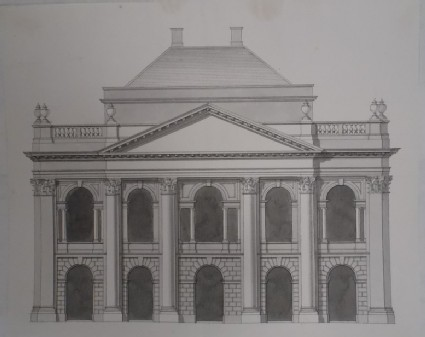 Design for the façade of the end of a monumental building