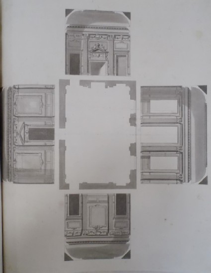 Design of the four uprights of a room folded down on either side of the plan