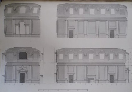 Design for the four uprights of a large attached room
