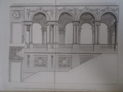 Design of the decorations of a monumental stair and colonnade