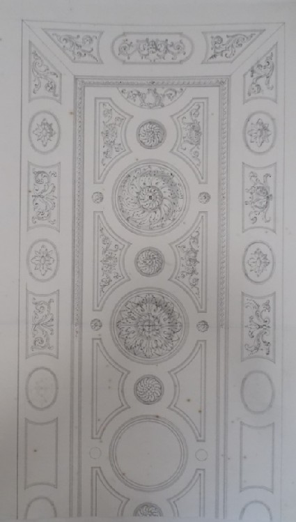 Design for fret-work and mouldings of a rectangular ceiling