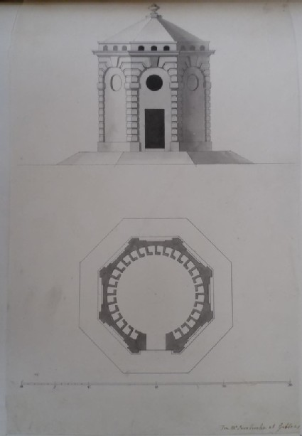 Design of the elevation and plan for an ornamental dovecot