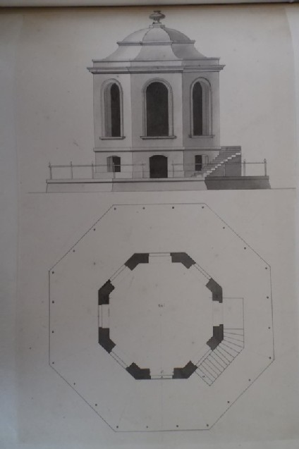 Design of the elevation and plan for a pavilion of a floor and a half