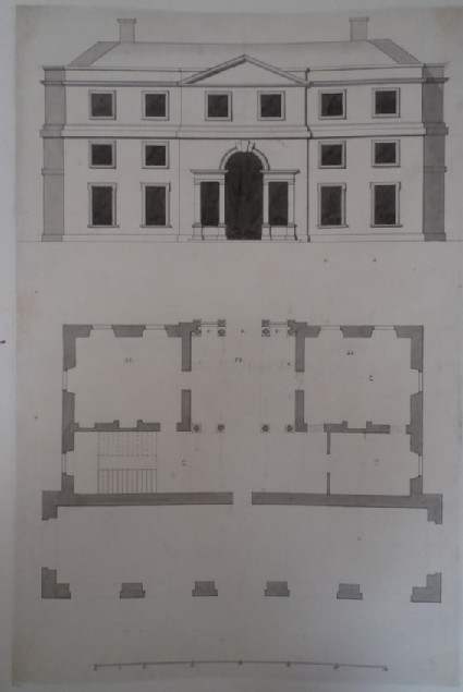 Design of the elevation and plan for a Town Hall and market, perhaps the Greenhouse at Whytton