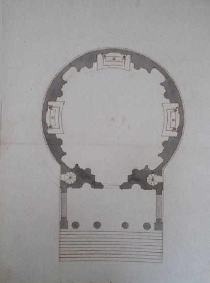Design of the plan of a church in the manner of Palladio