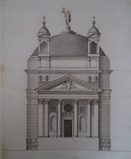 Design of the upright of the west front of a church in the manner of Palladio