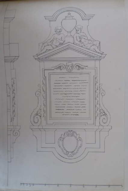 Drawing of an early design for a monument, perhaps for the monument to Edward Colston Esq. erected at Bristol