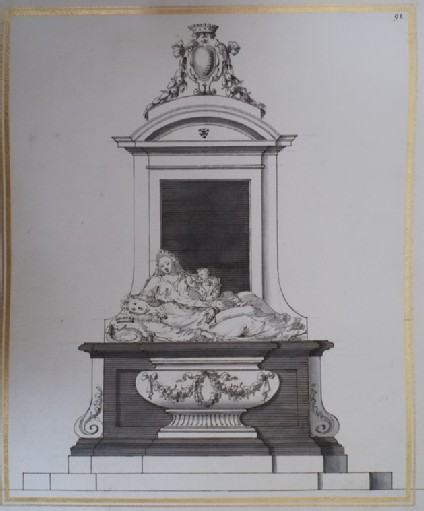 Design for a Monument to a Viscount, his Wife and Child (Black and White Marble)