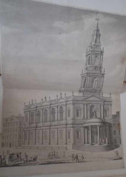 Rendering in perspective of the church of St Mary in the Strand