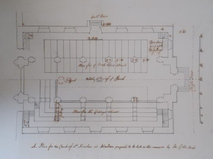Drawing of a proposed plan for the church of St Nicholas at Aberdeen