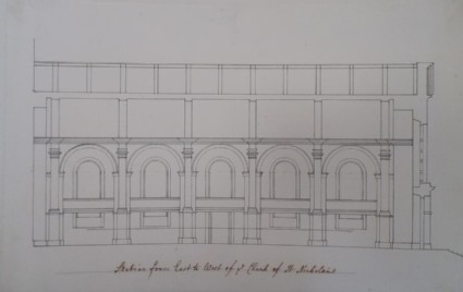 Drawing for the west façade of the church of St Nicholas at Aberdeen