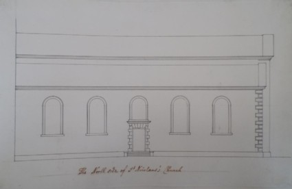 Drawing for a section of the church of St Nicholas at Aberdeen