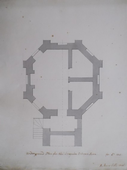 Drawing of a plan of an octagonal room, perhaps for the estate of Wynnstay, Wales