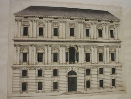 Recto: Design of the upright of a large building  