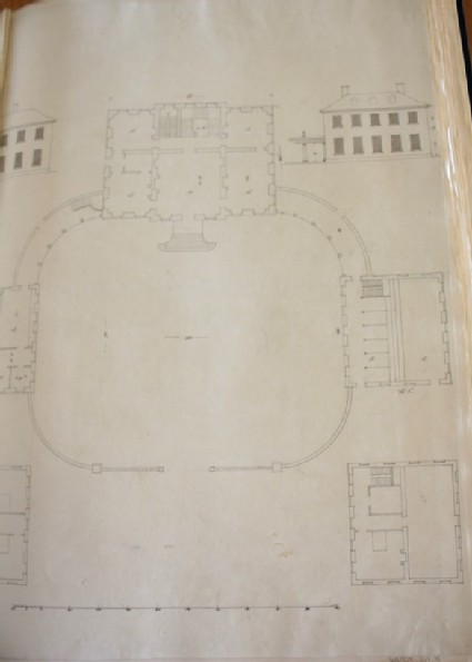 Design of the plan of a country house with the plans of the second floors and uprights of the offices