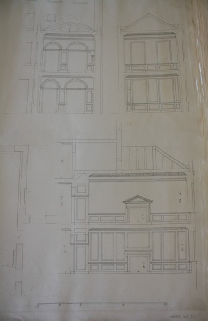 Drawing of the cross sections, the plan, and a longitudinal section of a two storey addition to a town house