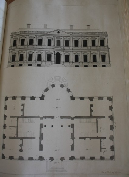 Design of the upright and plan of a large house inscribed by Gibbs. 'For ye Duke of Bolton'