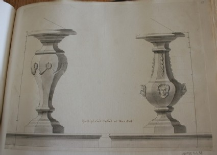 Design of the uprights of two dials inscribed by Gibbs, 'Dyals of Lord Oxford at Down Hall'