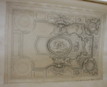 Design of the decorations of a ceiling inscribed by Gibbs 'Ceiling for Mr. Sambrooke at Gubbins' (Gobions)