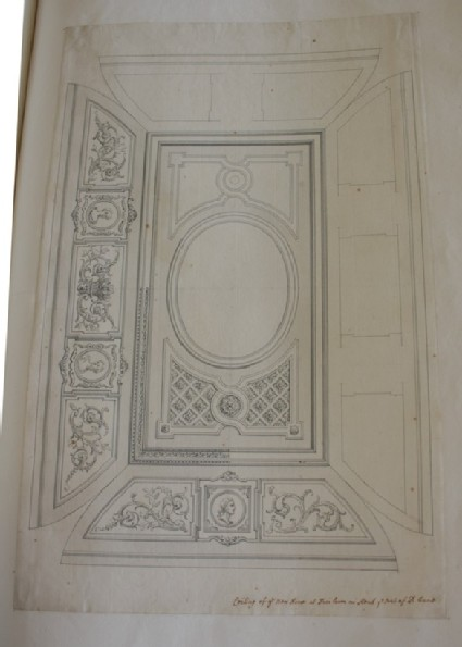 Design of the decorations of a ceiling inscribed by Gibbs 'Ceiling of ye New Room at Fairlawn in Kent ye Seat of Ld. Vane'