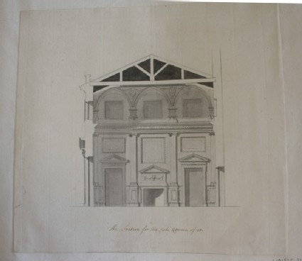 Design of the section of a room inscribed, 'The Section for the Cube Roome of 28'