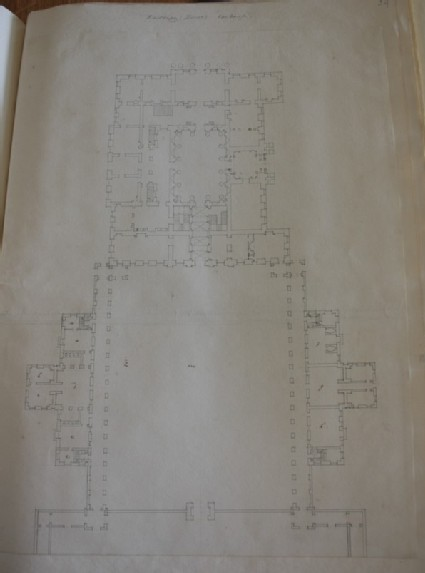 Drawing of the plan of an enormous country house