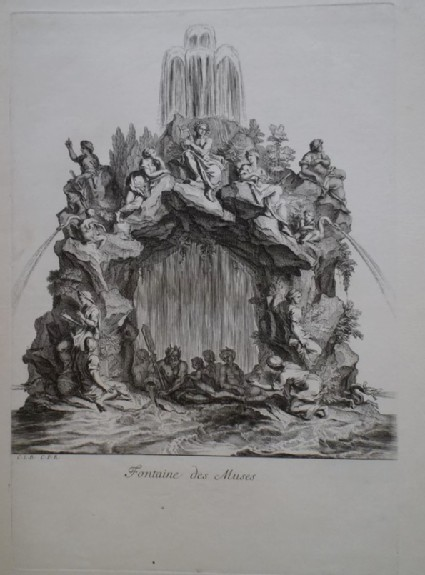 Design for a fountain showing the Muses, from the series 'Recueil de fontaines et de frises maritimes'