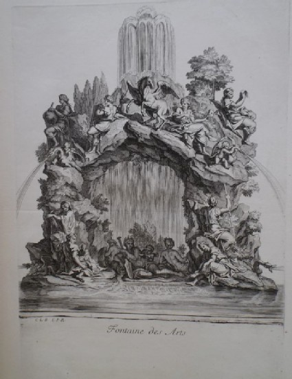 Design for a fountain showing the Muses of the arts, from the series 'Recueil de fontaines et de frises maritimes'