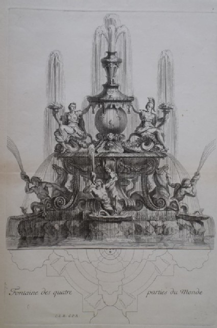 Design for a fountain showing deities, from the series 'Recueil de fontaines et de frises maritimes'