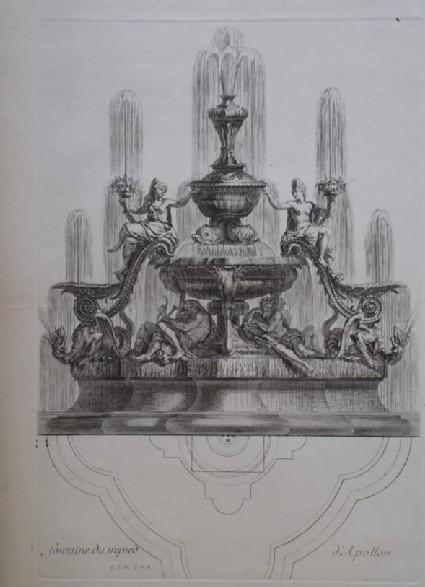 Design for a fountain showing deities, from the series 'Recueil de fontaines et de frises maritimes'
