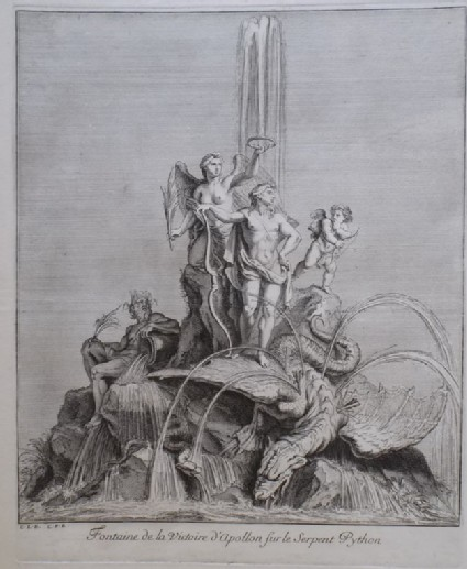 Design for a fountain showing Apollo triumphant over Python, from the series 'Recueil de fontaines et de frises maritimes'