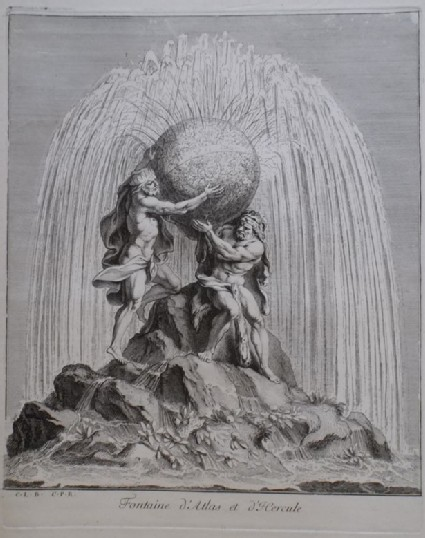 Design for a fountain showing Hercules and Atlas, from the series 'Recueil de fontaines et de frises maritimes'