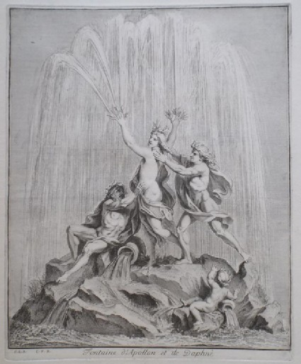 Design for a fountain showing Apollo and Daphne, from the series 'Recueil de fontaines et de frises maritimes'
