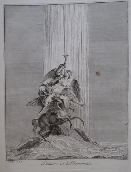 Design for a fountain showing Pheme, from the series 'Recueil de fontaines et de frises maritimes'
