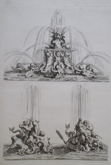 Two designs for a fountain with putti and mythological creatures, from the series 'Recueil de fontaines et de frises maritimes'
