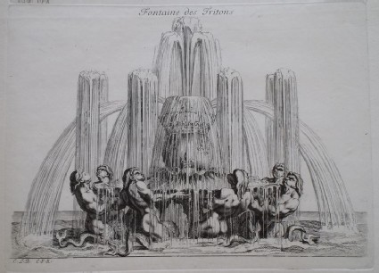 Design for a fountain showing tritons, from the series 'Recueil de fontaines et de frises maritimes'