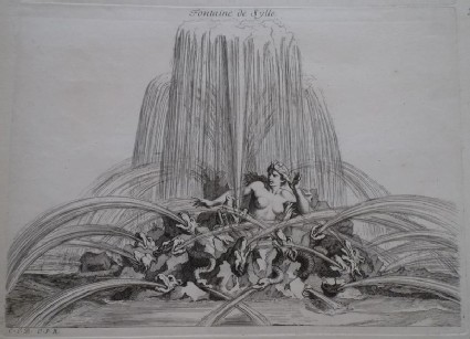 Design for a fountain showing Scylla, from the series 'Recueil de fontaines et de frises maritimes'