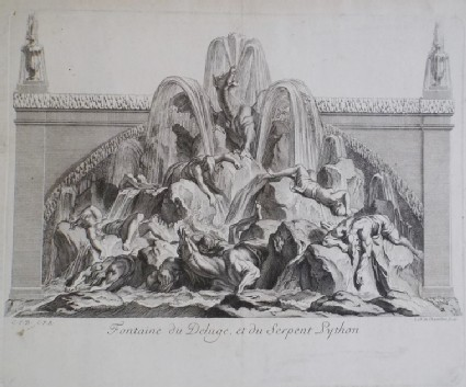 Design for a wall fountain showing the deluge, from the series 'Recueil de fontaines et de frises maritimes'