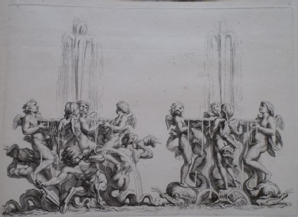 Design for a fountain showing two groups of putti and maritime deities, from the series 'Recueil de fontaines et de frises maritimes'