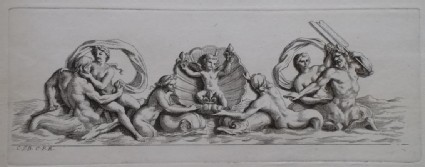 Design for a fountain showing two centaurs, deities and a putto, from the series 'Recueil de fontaines et de frises maritimes'