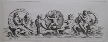 Design for a fountain showing maritime deities and a putto, from the series 'Recueil de fontaines et de frises maritimes'