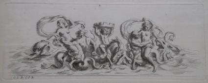 Design for a fountain showing maritime deities, from the series 'Recueil de fontaines et de frises maritimes'