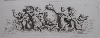 Design for a fountain showing two angels holding cornucopias and the French royal coat of arms, from the series 'Recueil de fontaines et de frises maritimes'