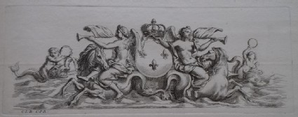 Design for a fountain showing two angels riding a horse and the French royal coat of arms, from the series 'Recueil de fontaines et de frises maritimes'