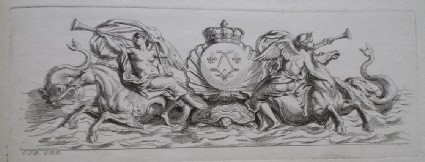 Design for a fountain showing two angels riding a horse, maritime creatures and the French royal coat of arms, from the series 'Recueil de fontaines et de frises maritimes'