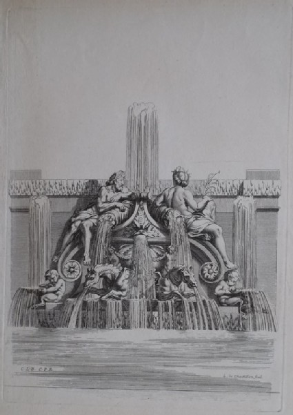 Design for a wall fountain with deities, from the series 'Recueil de fontaines et de frises maritimes'